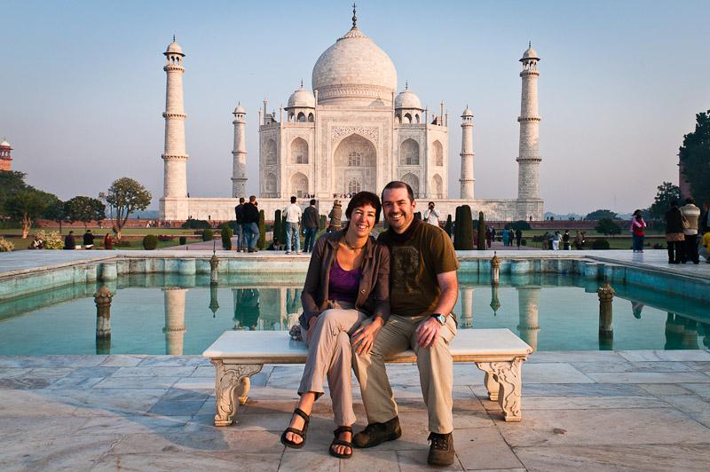 De obligate foto voor de Taj Mahal, Agra